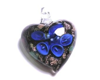 New Large Heart flower Glass Pendant 35mm Blue