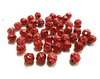New 25 Rose Flower Metallic Acrylic Red beads 6mm