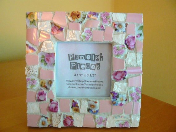 Pink Roses Broken China Mosaic Picture Frame