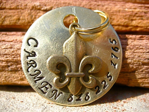 The Carmen (#115) - Unique Handstamped French Fleur de Lis Pet ID Tag Dog