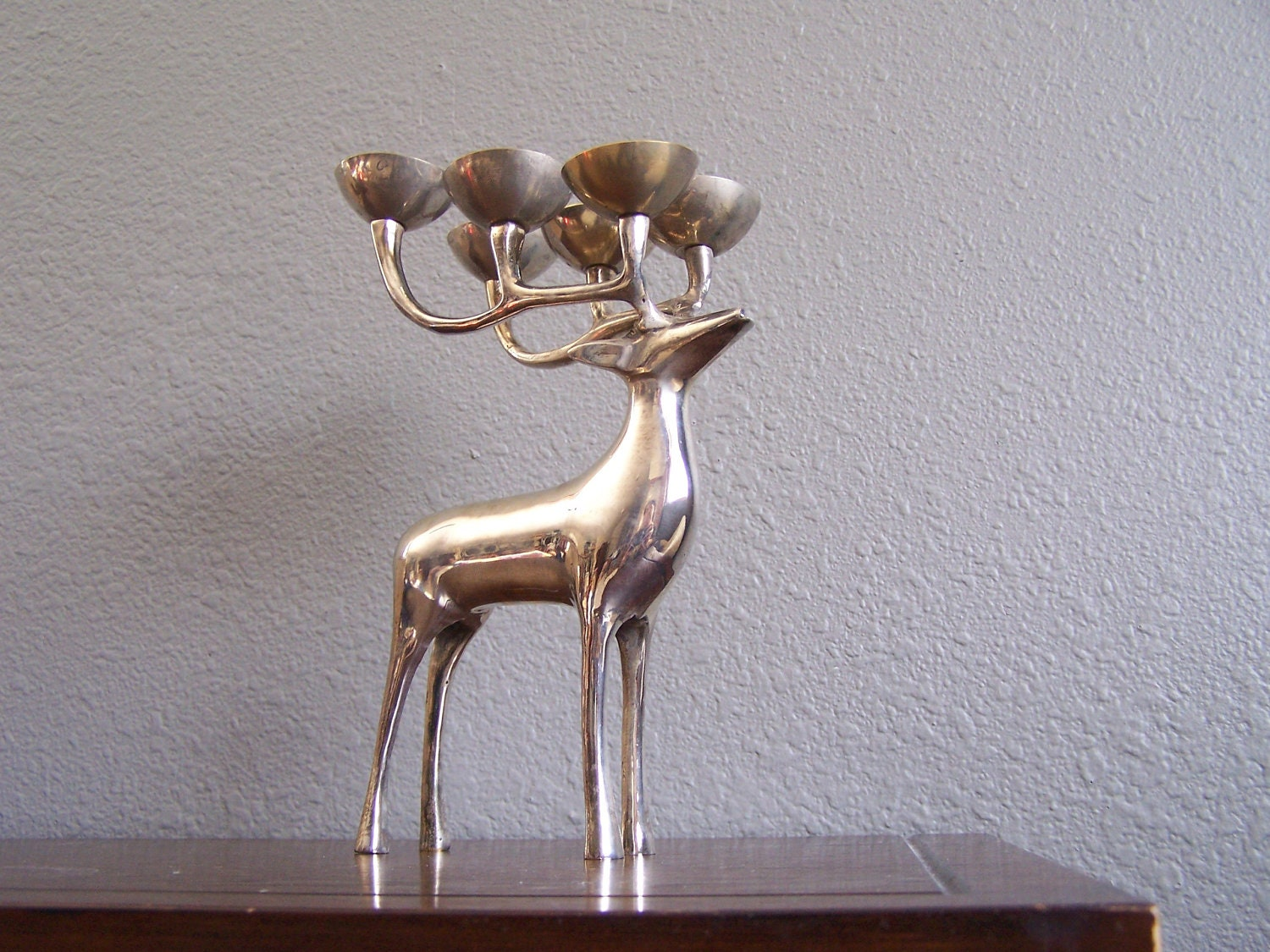Vintage Silver Brass Elk Deer Candle Holder
