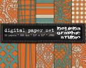 Orange Cream Teal Vintage Digital Papers for Blogging and Scrapbooking  INSTANT DOWNLOAD