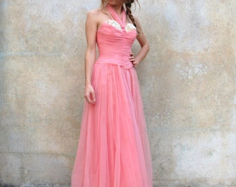 1950s formal floor length dress / 50s strapless pink silk tulle evening dress - extra small