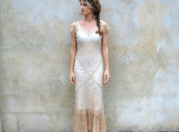 1930s silk lace wedding dress / jacket- 30s champagne sheer bias cut floor length dress- small/medium