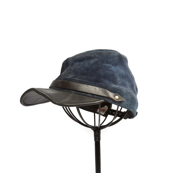 Black and Blue Confederate Styled Military Hat Patrol Cap All Leather