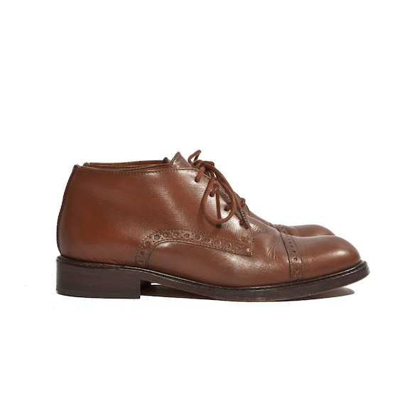 Vintage Franco Sarto 80's Chunky Brogues Brown Leather Women's Cap Toe Oxfords size 7 M