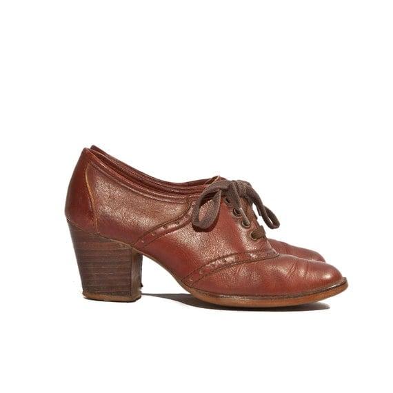 Vintage Oxford Booties High Heels Brogue Shoes Cinnamon Brown size 6