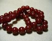 Jade Glass Beads Ruby Round 10MM