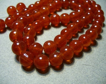 Jade Glass Beads Red  Round 8MM