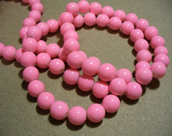 Glass Beads Pink  Round 10MM