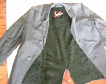 Diplomat Outerwear Winter Lined Madmen Gray Green Subtle Plaid Trench  Rain Coat 38