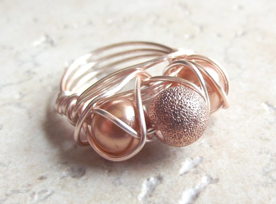 Champagne Pearl Ring:  Rose Gold Wire Wrapped Ring, Golden Sparkle Statement Ring, Bridal Jewelry, Size 6.75