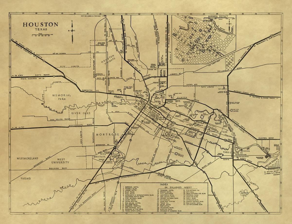 Vintage Map Houston Texas 1935
