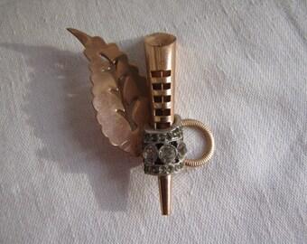 Vintage Copper Brooch Pin Rhinestones Leaf