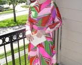 Vintage 60s Go go Dancer Bond Multi color pattern 60s Mod Mini Dress long sleeves Red pink green