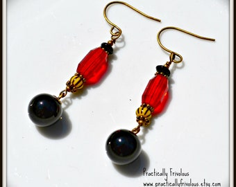 Red and Yellow Earrings Colorful Handmade Jewelry gift