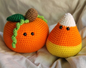 Percy the Pumpkin and Cameron the Candy Corn - Amigurumi Plush Crochet PATTERN ONLY (PDF)