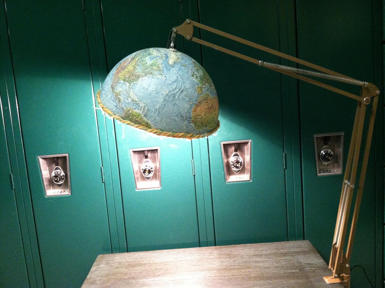 Handmade repurposed school room globe lamp for Repurposed light globes