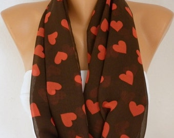 Heart Infinity Scarf Spring Summer Scarf Chiffon Circle Loop Scarf Love Gift Ideas For Her Women Fashion Accessories Scarves