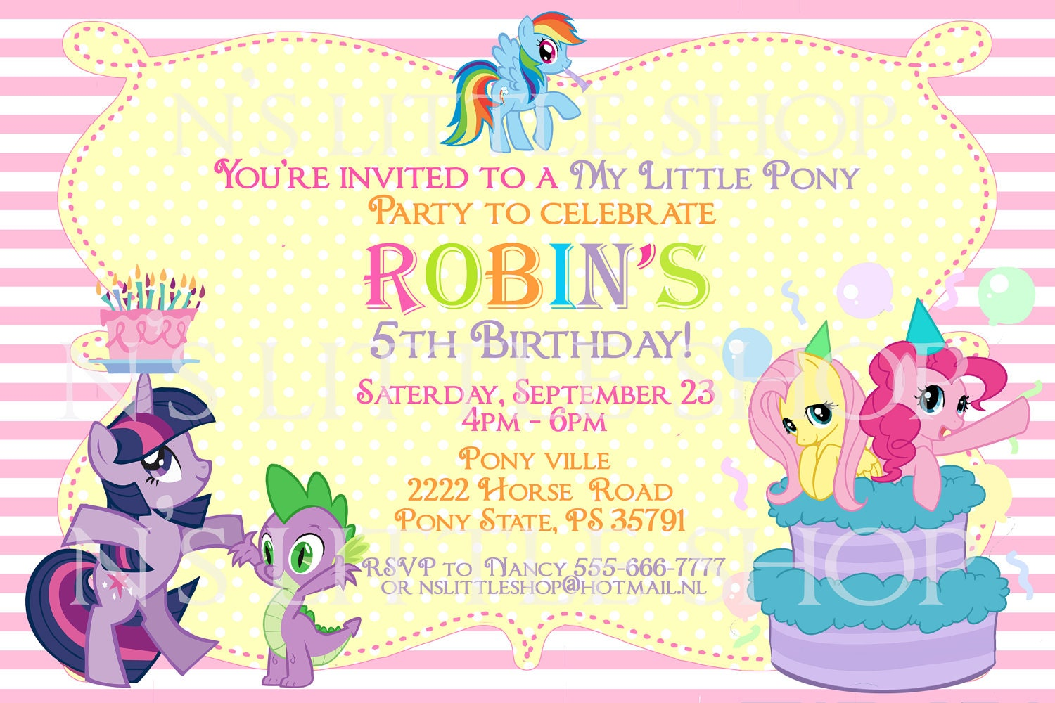 My Little Pony Birthday Party Invitation Ideas My little pony inspired