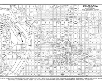 Philadelphia Street Map Vintage Print Poster