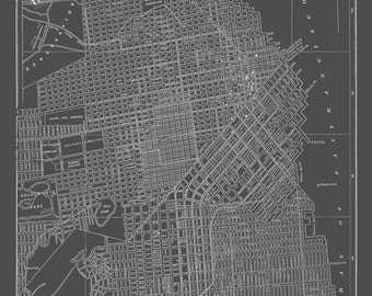 San Francisco Map San Francisco Street Map Vintage Dark Gray Print Poster