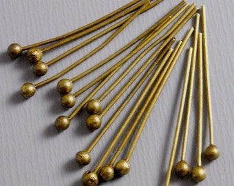 HEADPIN-AB-20MM - 100 Antique Bronze Ball End Headpins (24 guage) - 20mm