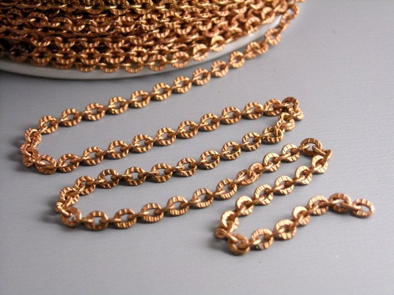 CHAIN-COPPER-2MMx2.6MM - 10-Foot Textured Brass Chain with Matte Copper Finish, 2mm x 2.6mm