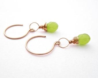 Dainty Lime Green Droplet Earrings - Chalcedony - 14k Gold Fill