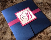 Blue and pink pocketfold wedding invitation