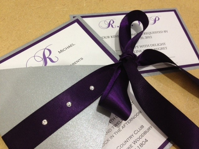 Silver And Purple Wedding Invitations: Silver & Purple Triangle Fold Wedding By UniqPaperCreations