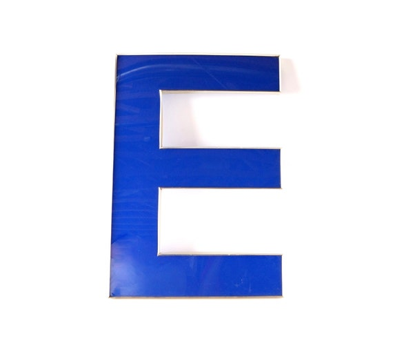 vintage industrial letter e sign letter in blue and silver