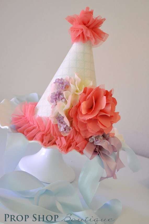 Coral Gardens Birthday Party Hat, Special Occasion, Photo Prop