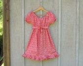 Farmer's Daughter  Art Deco dress cotton flowered  cutie vintage fabric sundress pink