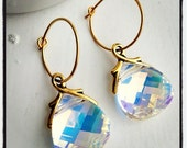 Sun Beams-Swarovski Cystal and Gold Plated Earrings