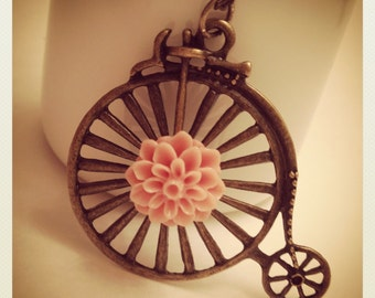 Flower Delivery-Bronze Bike with Pink Dahlia Cabochon Necklace, LONG CHAIN