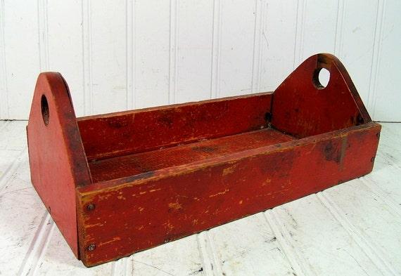 Primitive HandCrafted Red Wooden Tote - Vintage Rustic Handy Bin - Chippy Deep Orange Paint