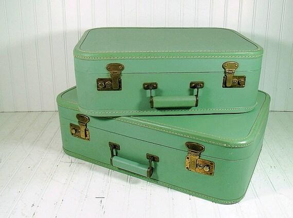 Vintage Matching Luggage Set in Celadon Green - Retro Sea Foam Aqua Graduated Bags - Shabby Chic Repurposing Carry Alls