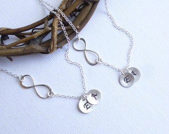 SET of TWO Infinity Two Initial Necklaces -- Two Personalized 925 Sterling Silver -- Friendship -- Sisters -- Mother Daughter