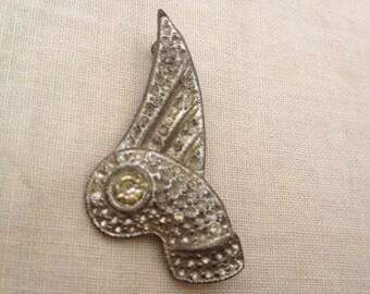 Art Deco Paste pot metal Brooch