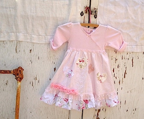 boho little autumn rose girl soft pink hearts gypsy rustic toddler ruffle shabby chic applique bird birthday dress