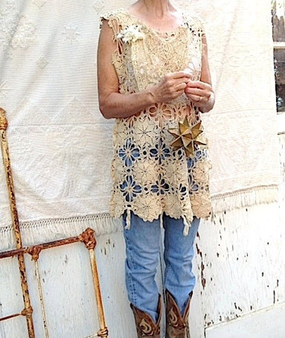 ecru winter tunic vintage lace antique romantic shabby crochet Bride prairie rustic wedding free people Kateblossom