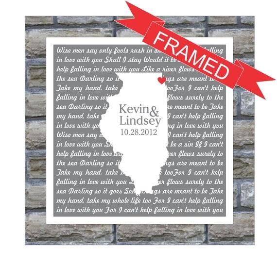 Wedding Present Box Elder Lyrics : Wedding Gift Personalized Song Lyrics Art Love Map FRAMED ART Any ...