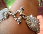 silver embroidery floss bracelet
