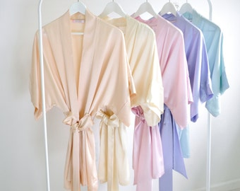 Ready to ship - Samantha Silk bridal robe getting ready kimono in blush ivory ballet pink lavender seafoam