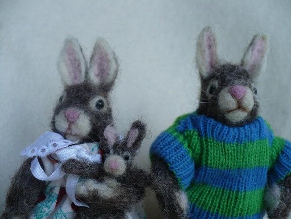 RESERVED, Needle felted,  Bunny Rabbit Kids, OOAK