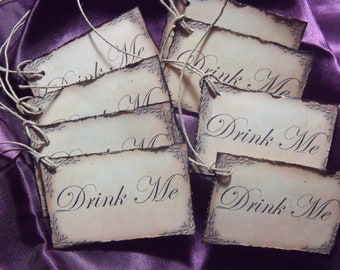 Alice in wonderland DrINk Me TAgS Set of 12 made to order