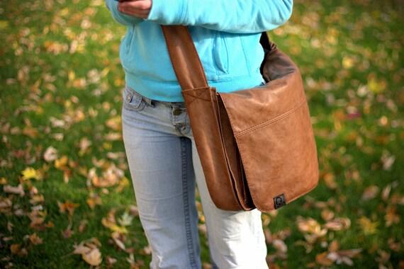 Laptop Messenger Bag -- Tan Leather -- cross body