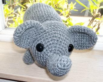 Amigurumi Elephant - Heathered Gray Hand Crocheted Elephant with Safety Eyes (Finished Doll)