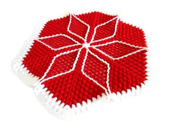 Handmade  Crochet Dishcloths Washcloths, gift, mothers day,  Red and White